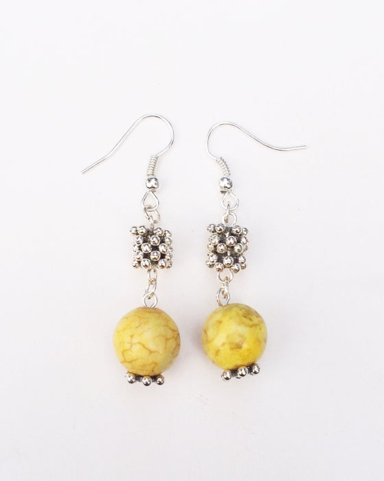 Image of Howlite Gumball Earrings