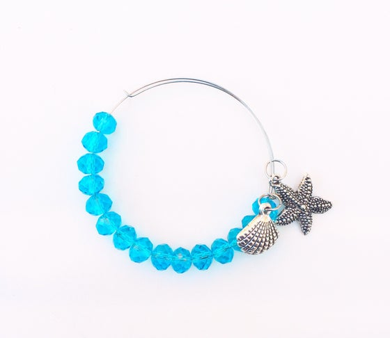 Image of Crystal and Seashell Charm Bangle
