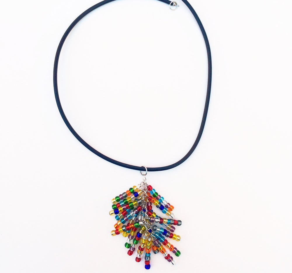 Image of Glass Seed Bead and Rubber Necklace