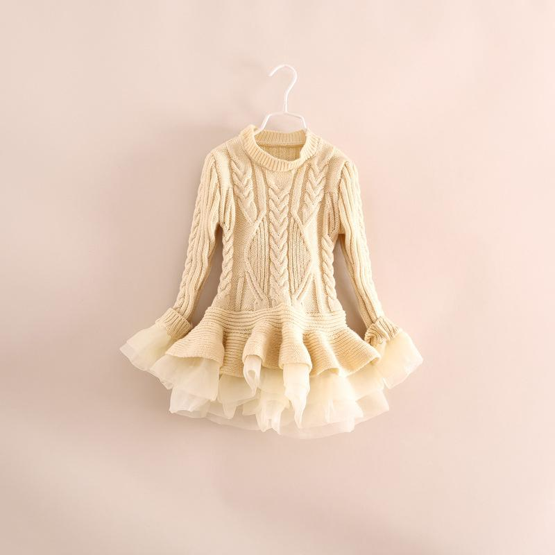 Image of Liv Sweater Dress Ivory, Tulle Ruffles, Cable Knit, Baby, Toddler, Girl, Holidays