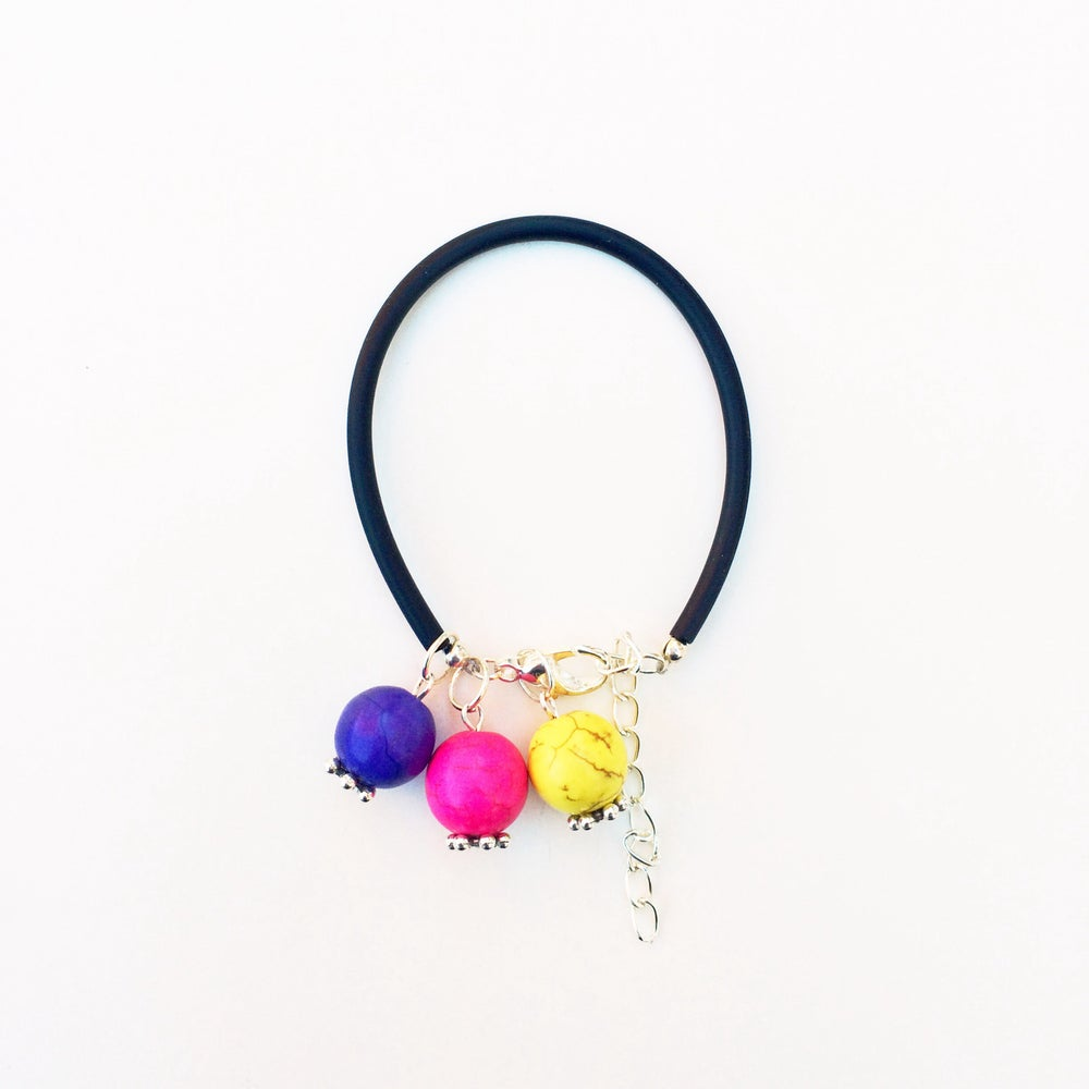 Image of Bubble Gum Howlite and Rubber Bracelet