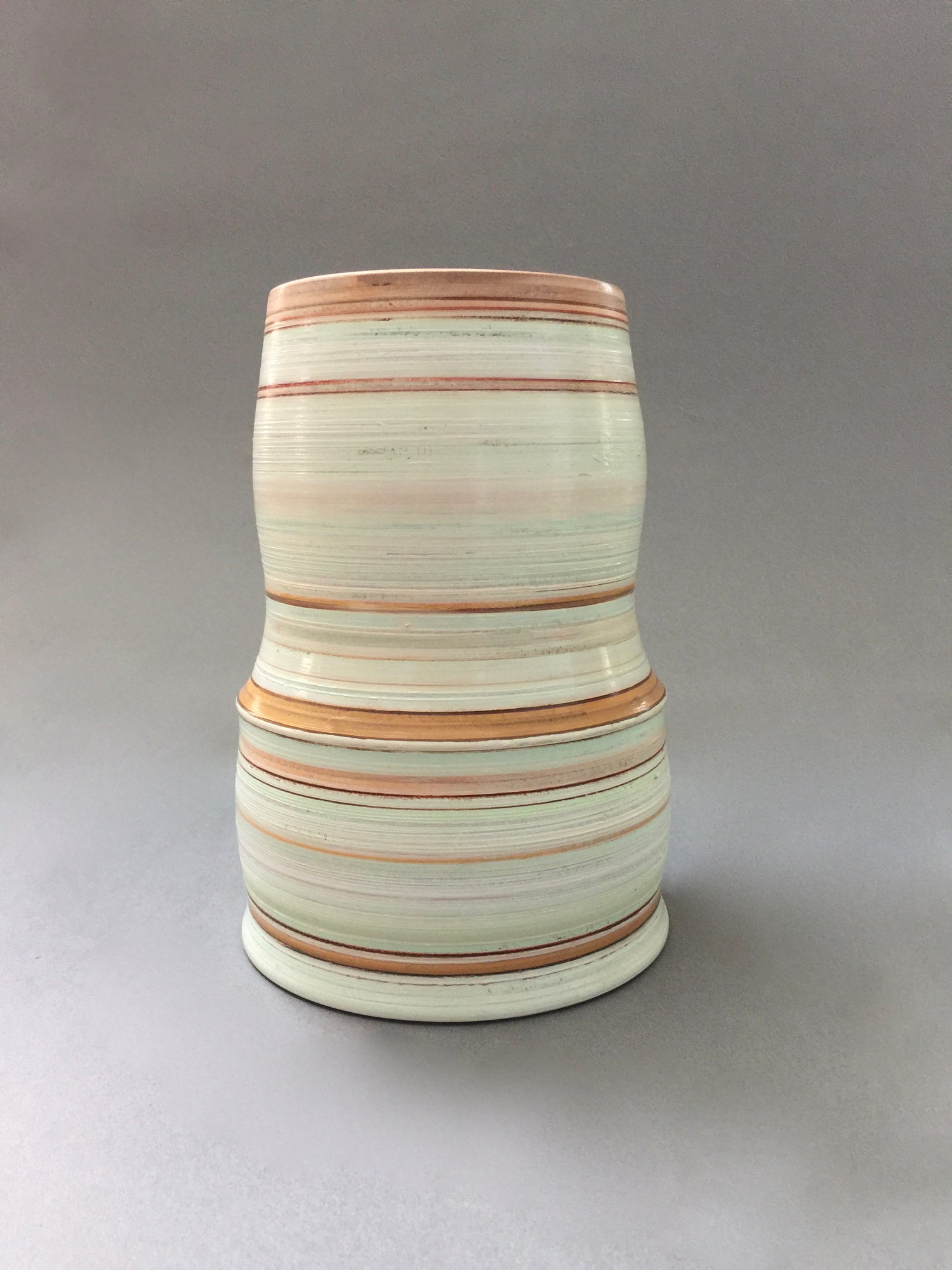 Image of Turned Wood Vase with Painted and Stained Finish Mint Greens and Browns