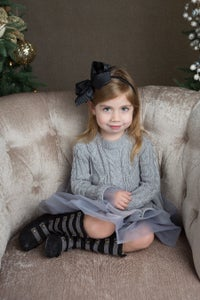 Image of Liv Sweater Dress Gray, Tulle Ruffles, Cable Knit, baby, toddler, girl, holidays