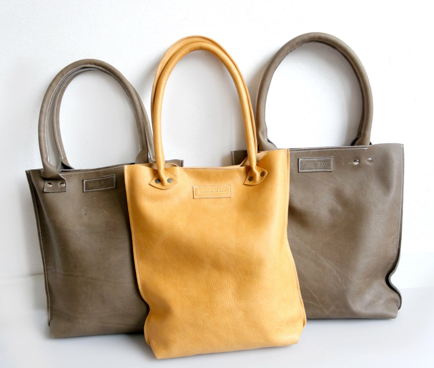 Image of Gray Leather Shopper, Wax Tanned Leather Bag
