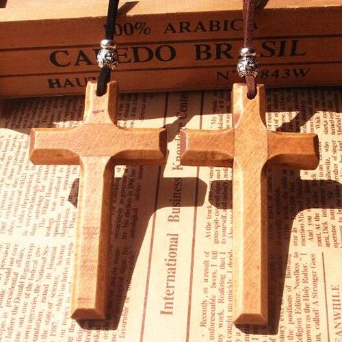 Image of Handmade Wooden Cross w/ Leather Lanyard