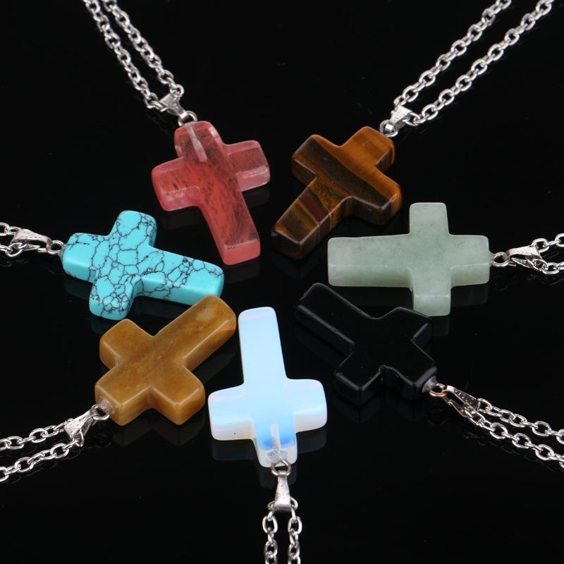 Image of Rock Cross Pendant w/ Link Chain
