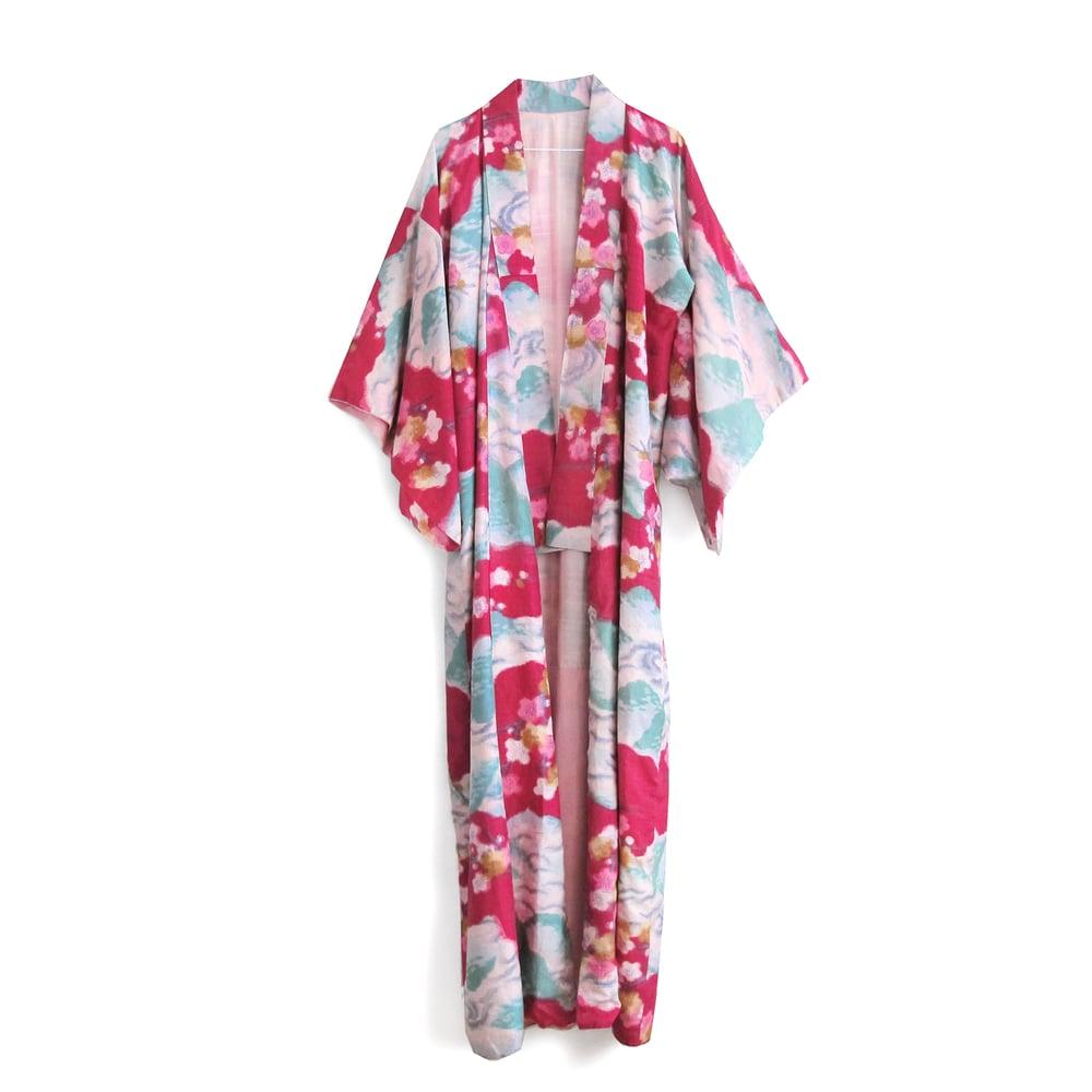 Image of Fouchia red kimono of raw silk with white plumflowers