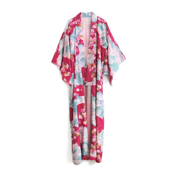 Image of Fouchia red kimono of raw silk with white plumflowers