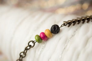 Image of Antique Brass & Colored Bead Essential Oil Diffuser Bracelet