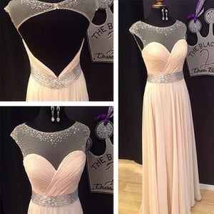 Image of Champagne Chiffon Illusion Neckline Beaded Prom Dress With Keyhole Back