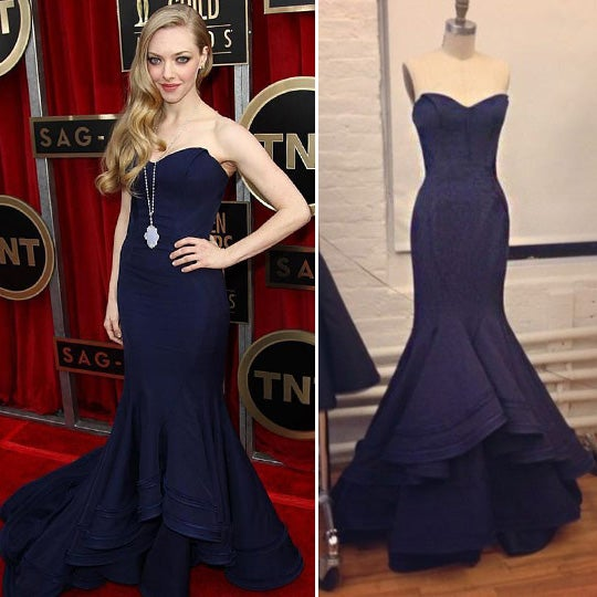 Image of Navy Blue Satin Sweetheart Mermaid Evening Gown With Sweep Train