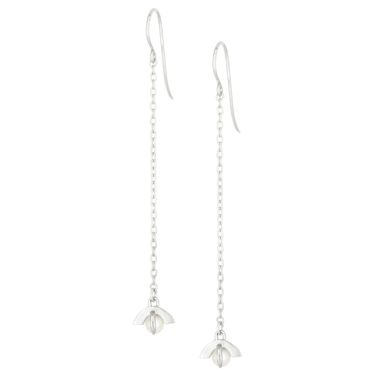 Image Of Moonrise Chain Earrings Silver