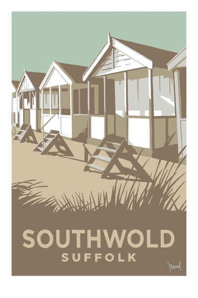 Image of Southwold Beach huts; Pale Blue; Steve Read