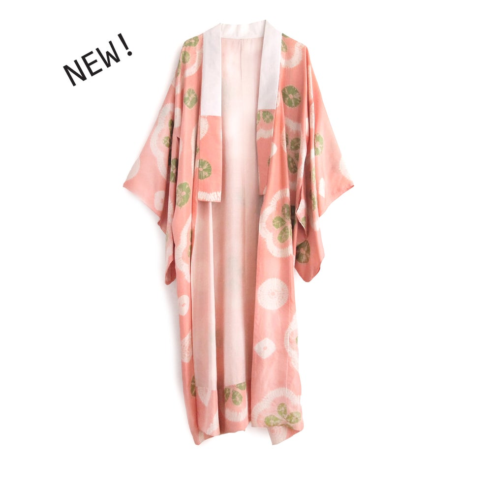 Image of Peach silk kimono with green and white patterns