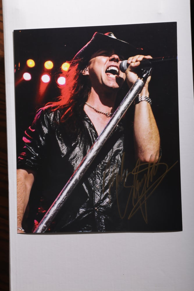 Image of Mark Slaughter autographed 8x10 concert photo