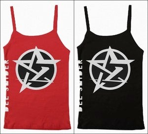 Image of Dee Snider-We Are The Ones Logo Women's Spaghetti Tank Top T Shirt Red/Black