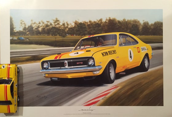"Image of Norm Beechey Holden Monaro. ATCC Winner. Large Poster ""Thunder at the Farm"""