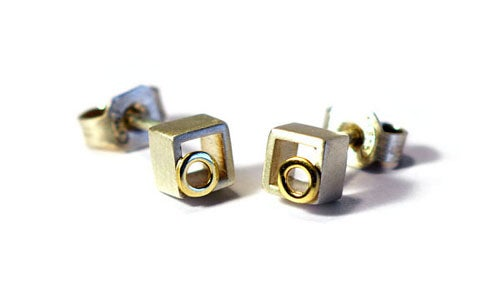 Image of Cubic Ear Studs With Ring
