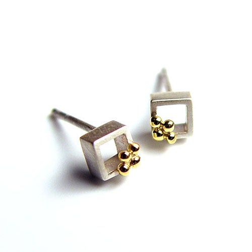 Image of Cubic Ear Studs With Granules