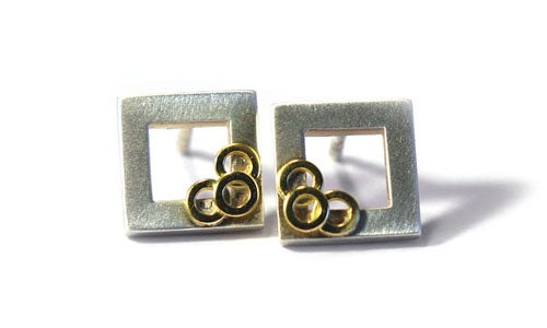 Image of Square Window Earrings With Rings