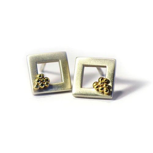 Image of Square Window Earrings With Granules