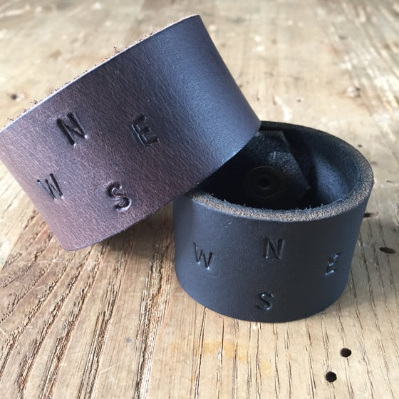 Image of Hand stamped leather bracelet - wide