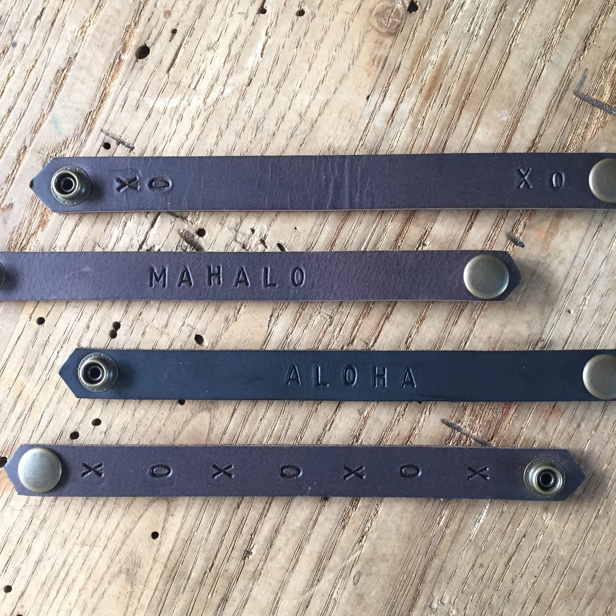 Hand stamped or stitched leather bracelet - narrow