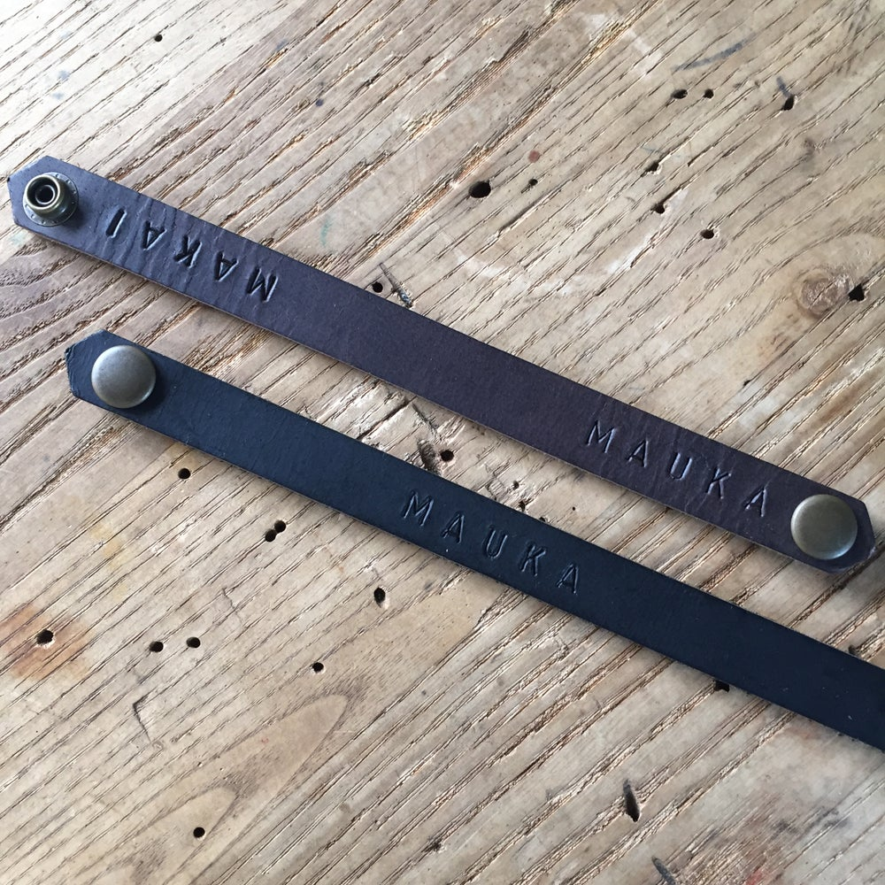 Image of Hand stamped leather bracelet - narrow