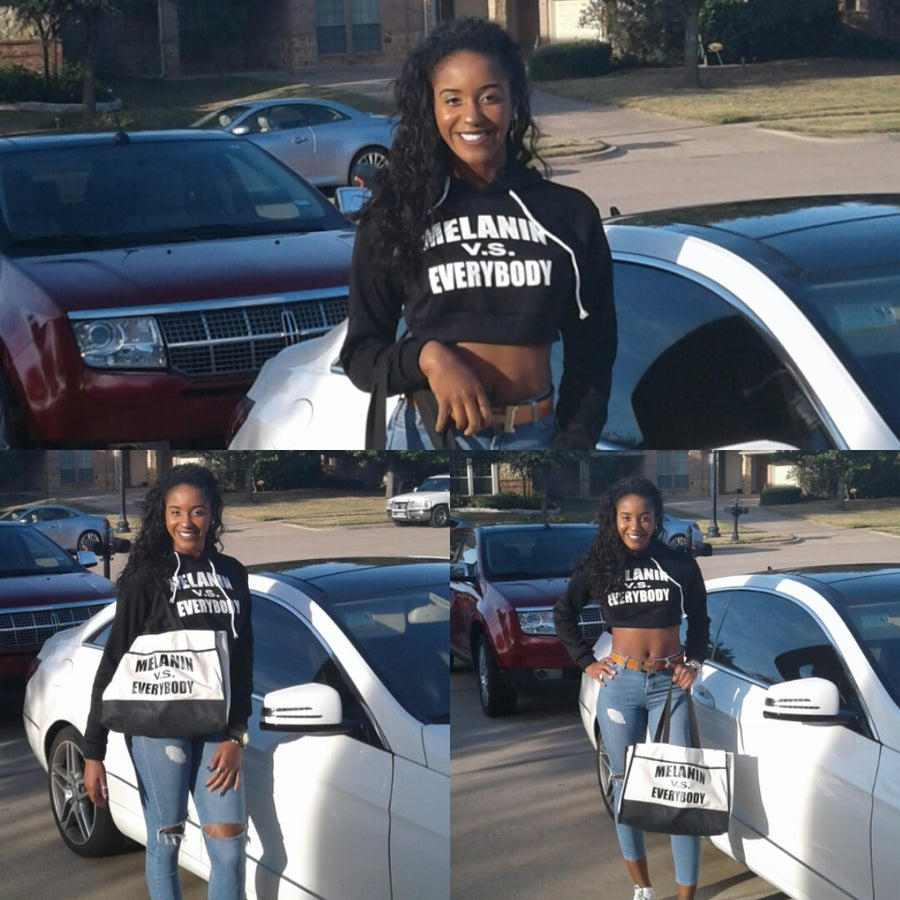 Image of MELANIN V.S. EVERYBODY CROP HOODIE
