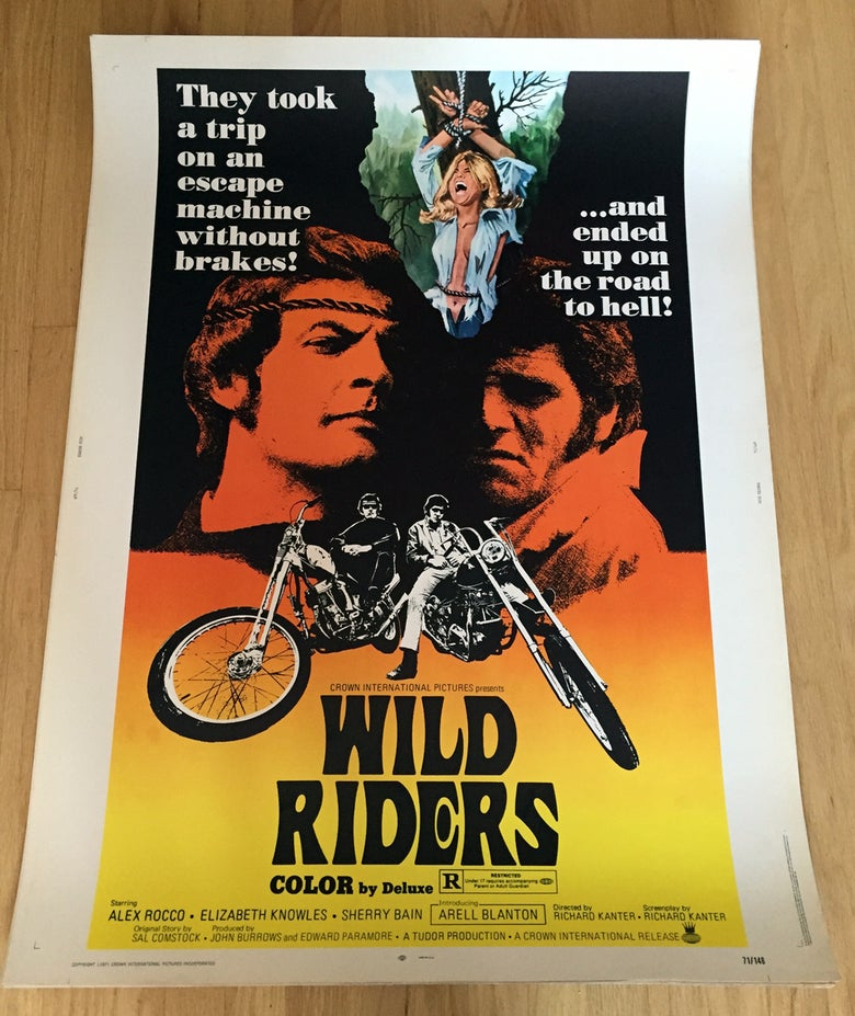"Image of 1971 WILD RIDERS Original 30 x 40"" Movie Poster"
