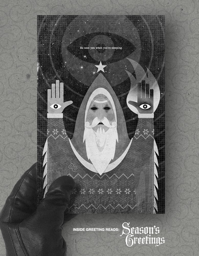 Image of Xmas card pack: 'He Sees You When You're Sleeping'