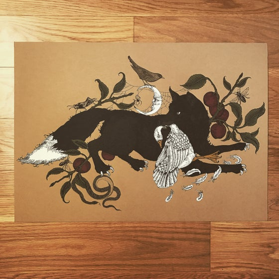 Image of The Black Fox hand embellished print.