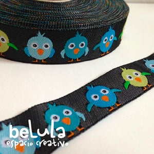 Image of Cinta de tela: Pájaros azules