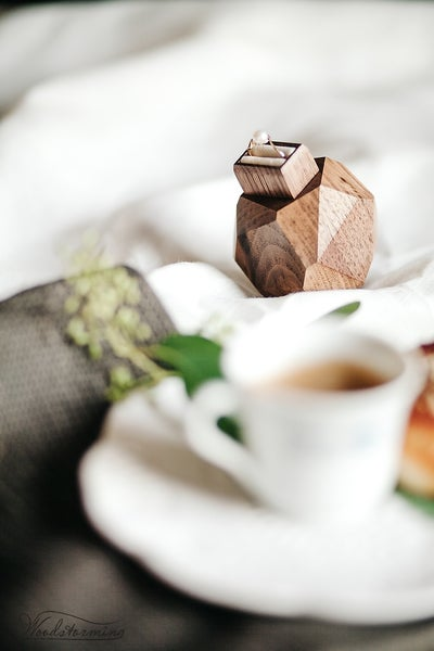 Image of Faceted wood engagement ring box with pull-out drawer - proposal ring box - by Woodstorming