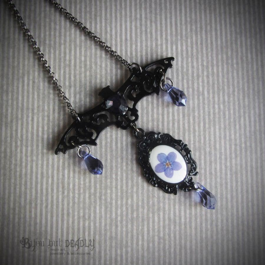Image of Filigree Bat Forget-me-not Necklace