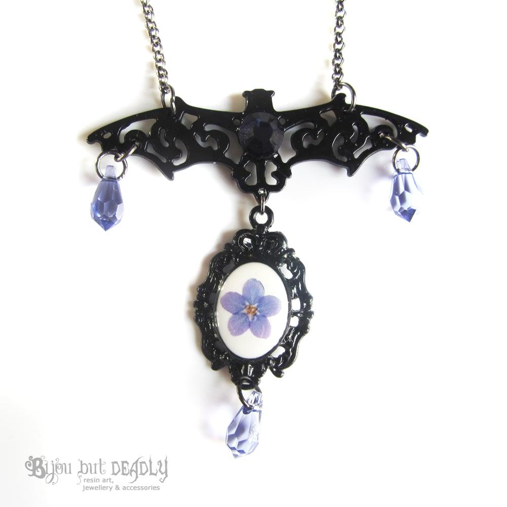 Filigree Bat Forget-me-not Necklace