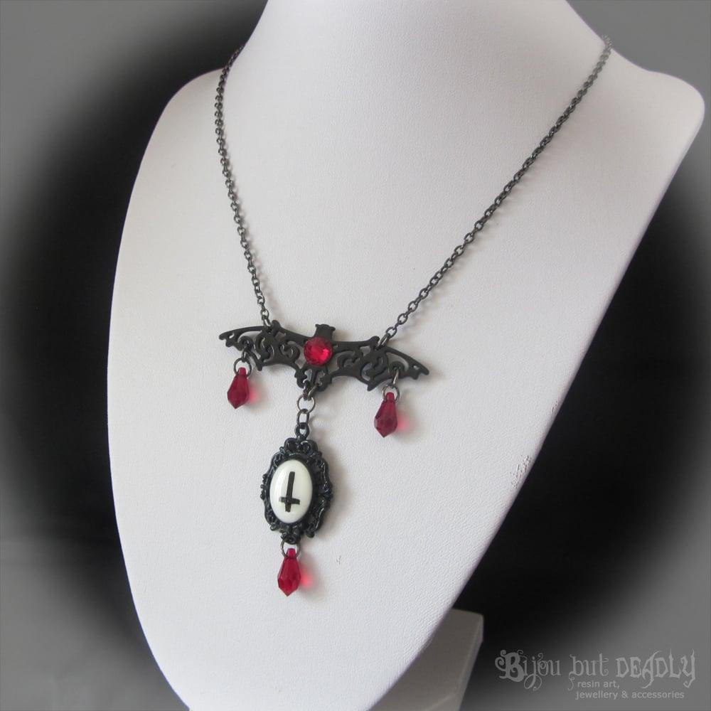Filigree Bat Cross Cameo Necklace