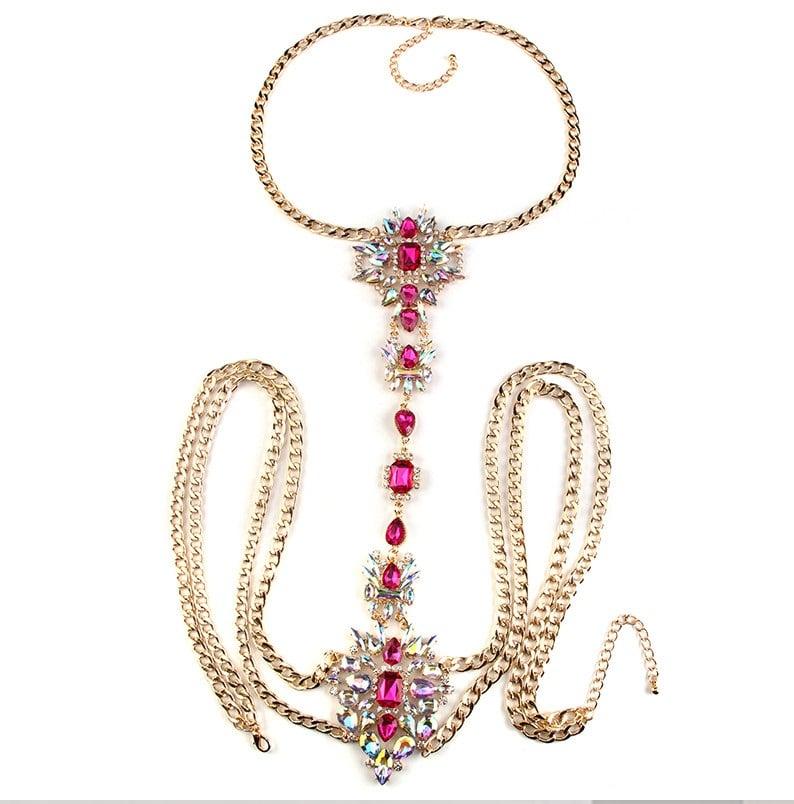 Image of Azalea Simple Body Statement Necklace PINK