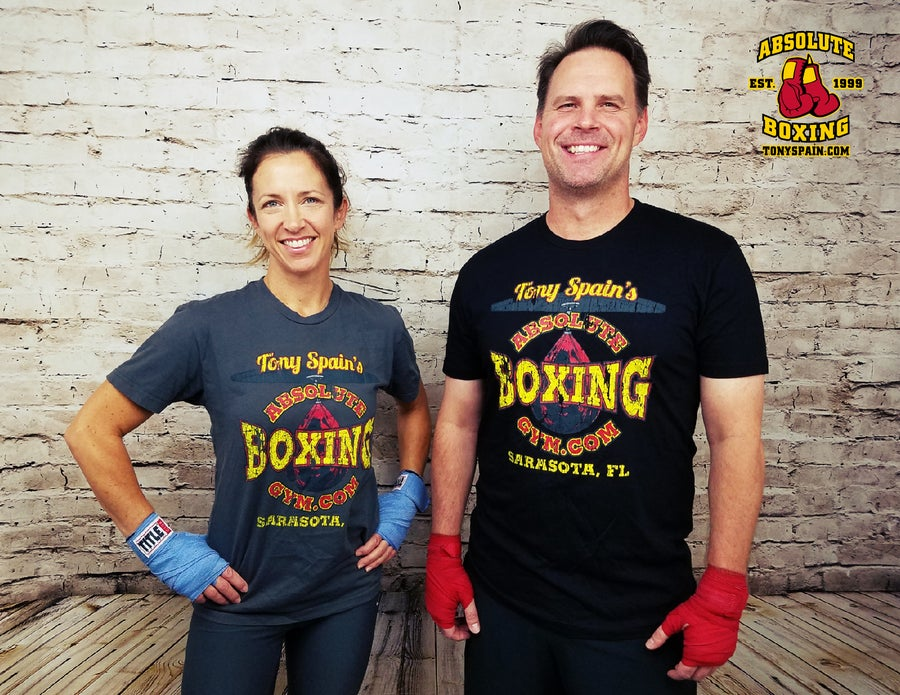 Image of Retro Boxing T-shirt (Heavy Metal or Black)