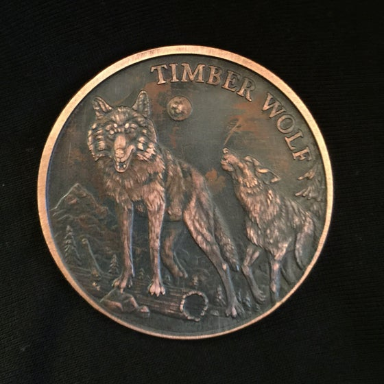 Image of Timber Wolf 1oz Copper Challenge Coin