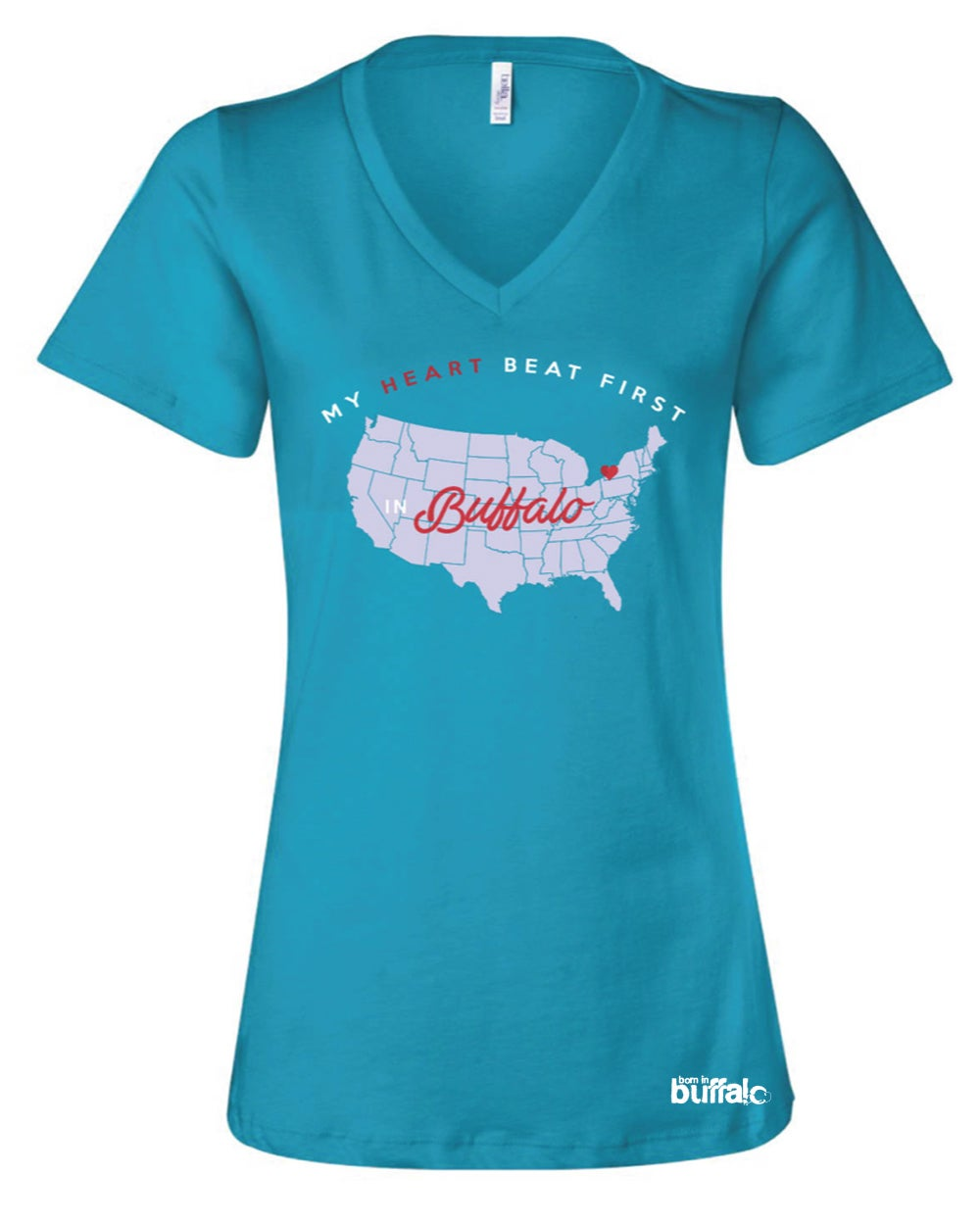 Image of My Heart Beat First In Buffalo Ladies V-Neck