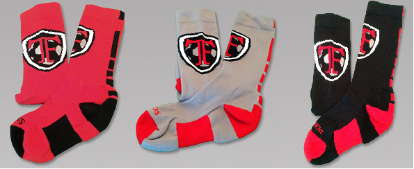 Image of Red, Gray, or Black TF Crew Socks
