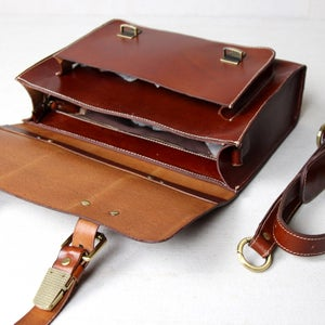 Image of Handmade Vegetable Tanned Leather Briefcase / Messenger Bag (n30)