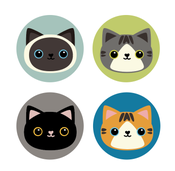 Image of Set of 4 Cat Buttons