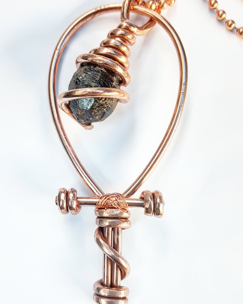 Image of Serpentine Wrapped Garnet Ankh