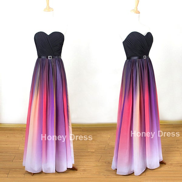 Image of Gradient Color Chiffon Sweetheart Beach Pleats Floor Length Evening Dresses, Ombre Elie Prom Dresses
