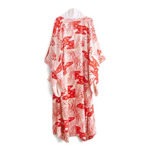 Image of Silk kimono w/ red and pink birds and iris flowers