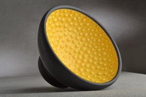 Image of Shaving Bowl Made To Order Yellow Black Dottie Shaving Bowl by Symmetrical Pottery