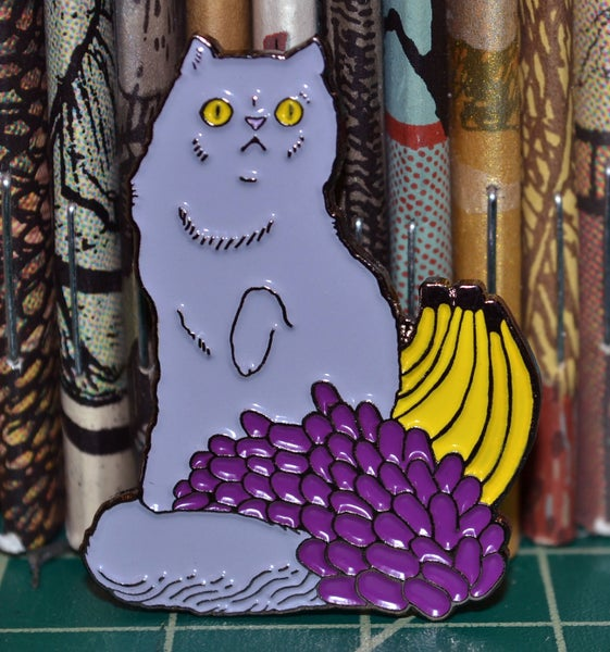 "Image of Touch of Class: ""Grape Cat with Grapes, etc."" Lapel Pin"