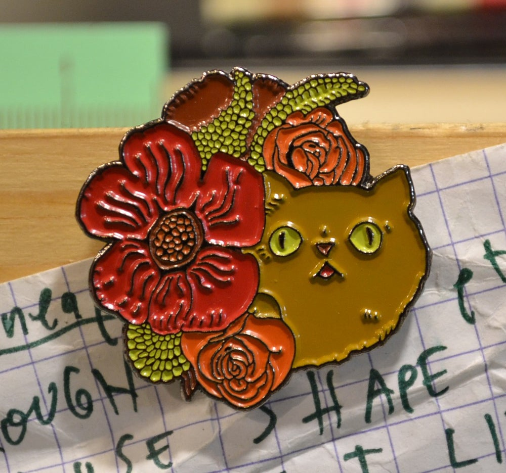 "Touch of Class: ""Floral Cat Blob"" Lapel Pin"